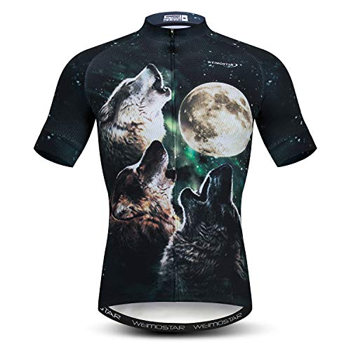 Men's Short Sleeve Cycling Jersey Bicycle Jacket Pockets Bike Biking Shirts Top 3D Wolf and Moon Size M