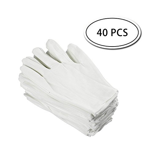 LK-Spring 20 Pairs White Cotton Gloves for Coin Jewelry Silver Inspection,8.6
