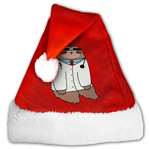 WAN1W0 Doctor Sloth Christmas Hat, Red&White Xmas Santa Claus' Cap for Holiday Party Hat -