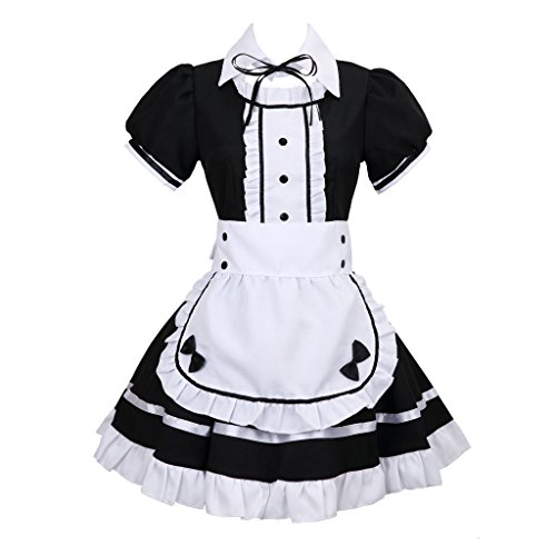 Colorful House Women's Cosplay French Apron Maid Fancy Dress Costume (X-Large, Black)]()