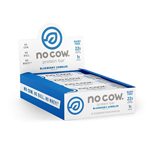 No Cow Protein Bar, Blueberry Cobbler, 22g Plant Based Protein, Keto Friendly, Low Carb, Low Sugar, Dairy Free, Gluten Free, Vegan, High Fiber, Non-GMO, 12Count