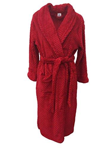 Croft & Barrow Womens Soft Plush Red Dimpled Robe Housecoat (Barrow Plush)