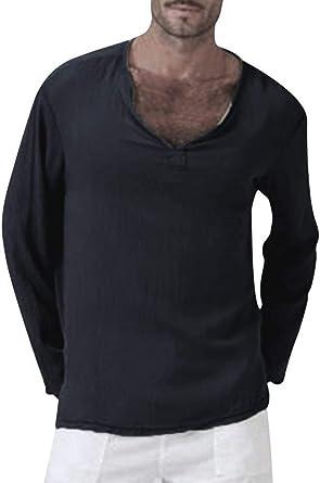 Mucha Hombres Camiseta De Algodón Retro Camisa De Lino Mode Básicos Casual con Cuello En V