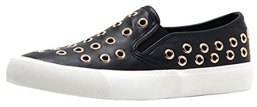Qupid Ronde Neus Instapper Met Zwarte Neus Studded Flatform Fashion Sneaker Zwart