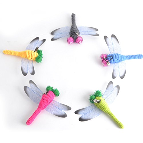 - UEETEK 5 Pcs Replacement Dragonfly for Interactive Cat and Kitten Toy Wands