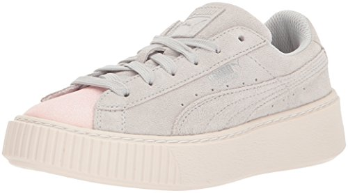 PUMA Kids' Suede Platform Glam Sneaker, Pearl-Glacier Gray, 11 M US Little Kid - Kid Suede Shoes