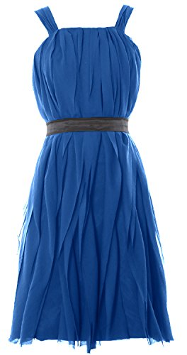 MACloth Women Short Bridesmaid Dress Straps Chiffon Cocktail Party Formal Gown Azul