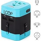 Worldwide Travel Adapter, LOOP® BEST International Plug [US UK EU AU] with Dual USB Charging Ports & Universal AC Socket, Safety Fused (Blue)
