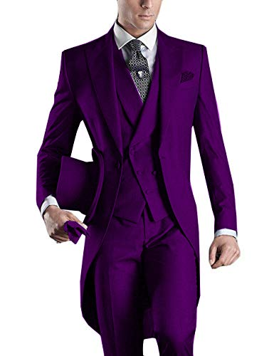 YBang Men's Classice 3 Pieces Tux Suit One Button Regular Fit Long Tail Tuxedos(Purple,42R)