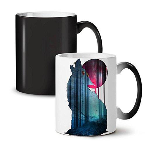 (Mountain Wolf Howl Moonlight Black Colour Changing Tea Coffee Ceramic Mug 11 oz   Wellcoda)