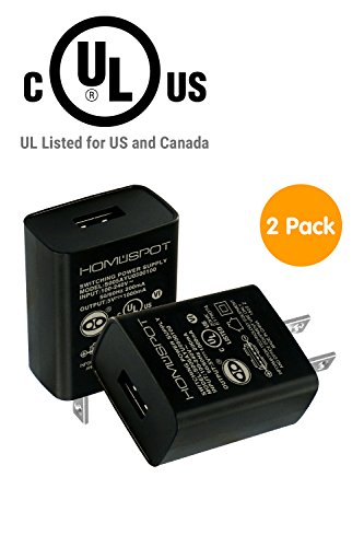 HomeSpot UL Listed Universal US 5V1A USB Wall Charger Plug in-Door Power AC Adapter for Travel Office Home Use - 2 Pack