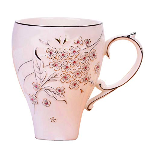 (Coffee Mug For Mom Ceramic Coffee Mug For Office CYXStar Travel Coffee Cup Coffee Mugs For Women and Girls With Spoon(Cherry Blossom))