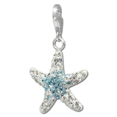 Charm Swarowski Elements big starfish white and light blue 925 Sterling Silver Charms Pendant for Charms Bracelet, Necklace or Earring GSC309 ()