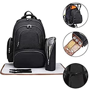 Kono Multi-Function Diaper Bag Travel Backpack Nappy Bags for Baby Care Large Capacity Nursing Mummy Handbag 3 Pieces Black 6706