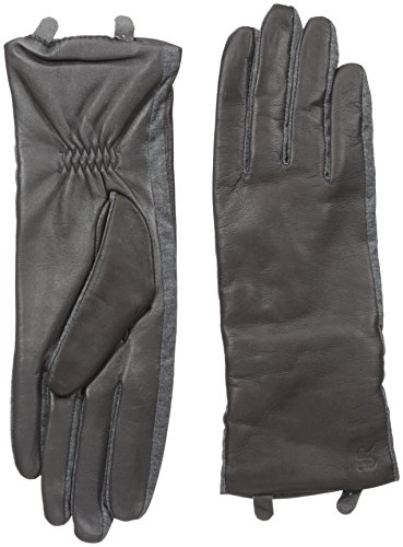 U|R Women's Stretch Side Panel Touchscreen Leather Glove, Storm, Medium