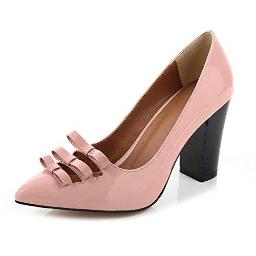 Nine Seven Cuero Zapatos de Vestir de Tacón Grueso con Lazo para Mujer Rosa