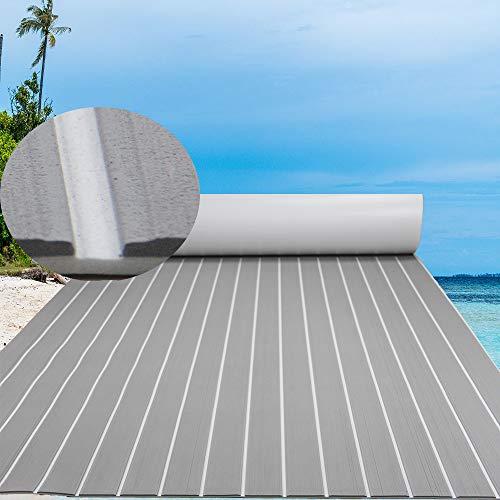 CNLZ High-Grade EVA Foam Faux Teak Decking Self-Adhesive Boat Decking Sheet Marine Yacht RV Swimming Pool Boat Flooring Sheet Thick Non-Skid 94.5