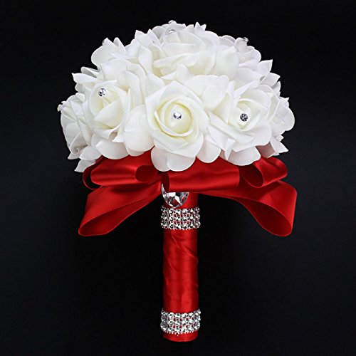 (Antrader Artificial Wedding Holding Bouquet Flowers Roses Crystal Rhinestone Bridal Silk Throw Bouquet Red)