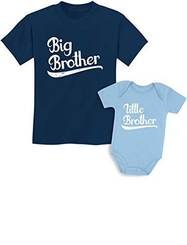 Sibling Shirts Set for Big Brothers and Little Brothers Boys Gift Set Kids Shirt Navy/Baby Aqua Kids Shirt 2T / Baby Newborn
