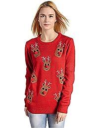 Women's Christmas Reindeer Snowflakes Sweater Pullover