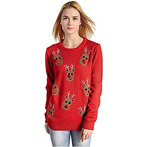 Women's Christmas Reindeer Snowflakes Sweater Pullover After Christmas Sales