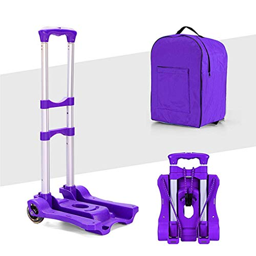 Zehaer Portable Trolley, Portable Folding Hand with Shopping Bag, Lightweight 2 Wheels Hand Cart Heavy Duty Adjustable Aluminum Alloy Luggage Cart (Color : Black) (Color : Purple) by Zehaer (Image #3)
