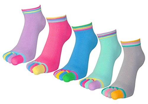 WEILAI SOCKS Women's Low Cut Five Finger Toe Rabbit Athletic Dress Socks (New (New Fivefingers)