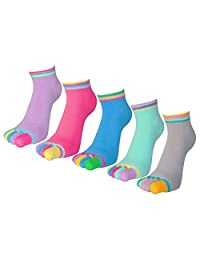 FULIER Women Fashion Five Finger Toe Yoga Sport Cotton Liner Ankle Socks 5 Pack