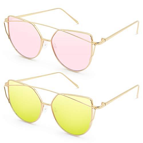 Livhò Sunglasses for Women, 2 Pack Cat Eye Mirrored + Transparent Flat Lenses Metal Frame Sunglasses UV400 (Gold/Green + Bobbl ()