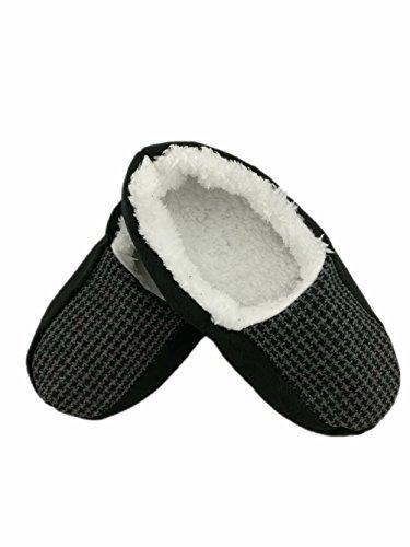 Mens Autumn Winter Indoor Non-skid Floor Shoes Slippers Socks HGTGZ680-BLACK2# L