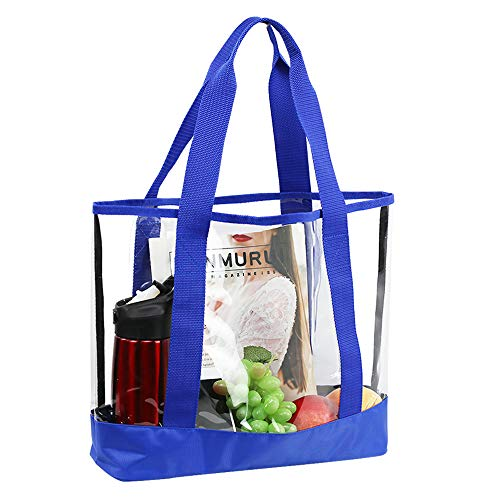Magicbags Large Clear Tote Bag, Fashion PVC Stadium Shoulder Handbag for Women, Perfect for Security Travel,Shopping,Sports and Work