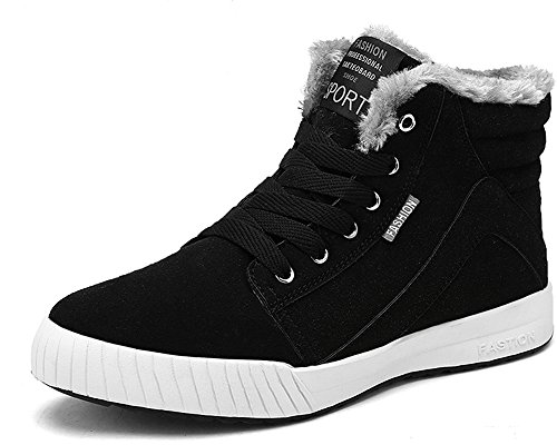 Yiruiya Hombres Forro De Piel De Invierno Tobillo Calentador Lace Up Nubuck Snow Botas Sneaker Negro