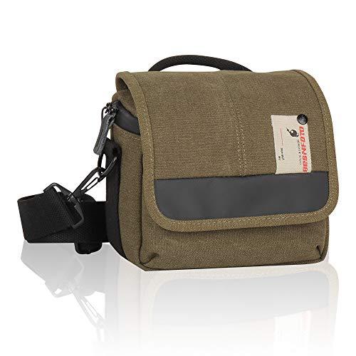 Besnfoto Mirrorless Camera Shoulder Bag Small Messenger Case Compact Waist Bag Waterproof Compatible for Canon EOS M10 M6 M2 Mrak M50 M100 Nikon P600 D5100 D5300 Sony RX10M3 Olympus E-M10 (Army Green)