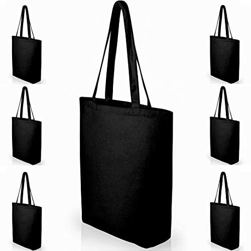 Heavy Duty Large Black Canvas Tote Bags with Bottom Gusset for Crafts, Shopping, Groceries, Books, and More! (6 Pack) 15x14x4 Inches