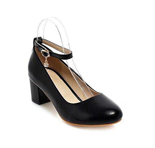 los Zapatos XIE 39 del el de Dedo con Superficiales Redondo Primavera Dulces y BLACK cortan Gruesos los 38 La White Zapatos Las del del Mujeres pie Talón Otoño Pqr7Pw