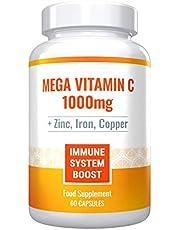 Mega Vitamin C 1000mg Plus Zinc, Iron and Copper. Powerful Immune System Boost. Sugar-Free, Gluten-Free. 60 Capsules - 1 Month Supply.
