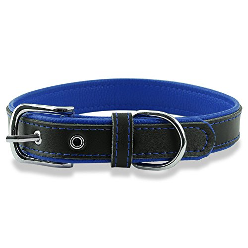 Epic Rogue Leather Dog Collar and Cat Collar, Soft Padded Genuine Leather Pet Collar for Female Male Cats Puppy and Small Medium Large Dogs( Neck 11''-15'', Deep Blue, Medium)