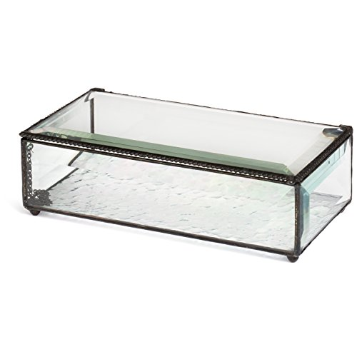 Glass Display Box (J Devlin Box 830 Large Clear Beveled Glass Jewelry Keepsake Box Home Decor Display)