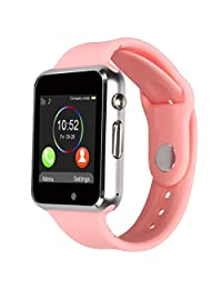 Kivors Bluetooth Smart Watch with Sim Card Slot GSM Sport Watch Activity Tracker Pedometer Smart Health Wrist Watch Phone For Android IOS Mobile Phone (Pink)