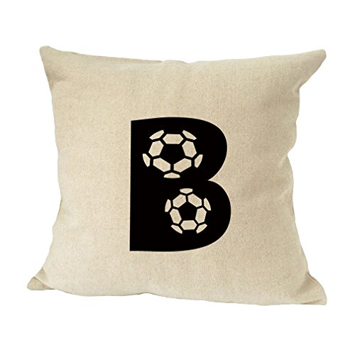 ''B '' Soccer Initial Monogram Letter B Bed Home Decor Faux Linen Pillow Cover by Style in Print