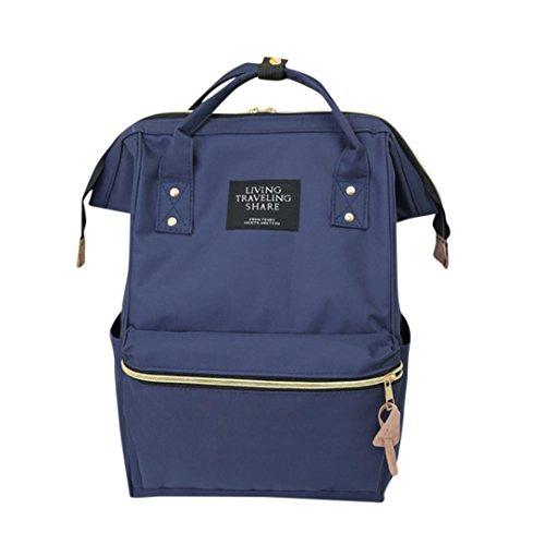 Cinhent Backpacks Unisex Solid Backpack School Travel Bag Double Shoulder Bag Zipper Nylon Large Bag,Fashion School Bookbag Laptop Saddle Bag,Living & Travelling Share (B) (Double Zippers Solid Fashion)