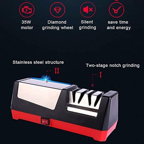 Roestvrijstalen Elektrische Messenslijper,Grof En Fijn Slijpen, Verwijderbare Magneetopslag,Siliconen Antislip,35W Motor,Stil En Laag Energieverbruik