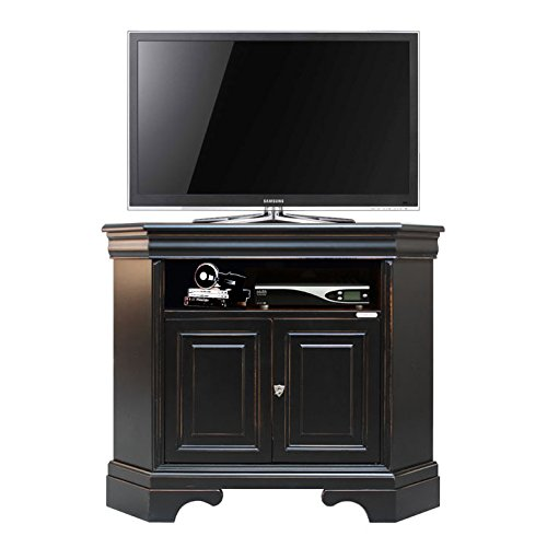 meuble tv dangle noir et bords merisier noir vieilli structure en bois - Meuble Tv D Angle Noir
