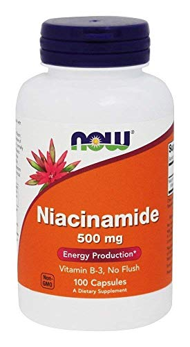 Now Foods Niacinamide 500mg, Vitamin B-3 Capsules, 100-Count