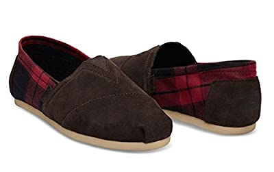 TOMS Men's Seasonal Classics Chocolate Brown Suede/Red Plaid Loafer 9 D (M)