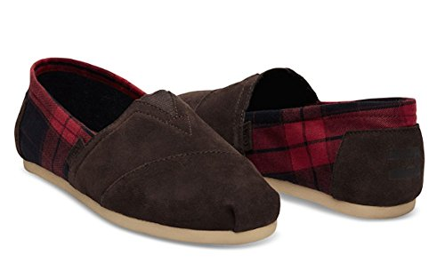 TOMS Men's Seasonal Classics Chocolate Brown Suede/Red Plaid Loafer 9 D ()