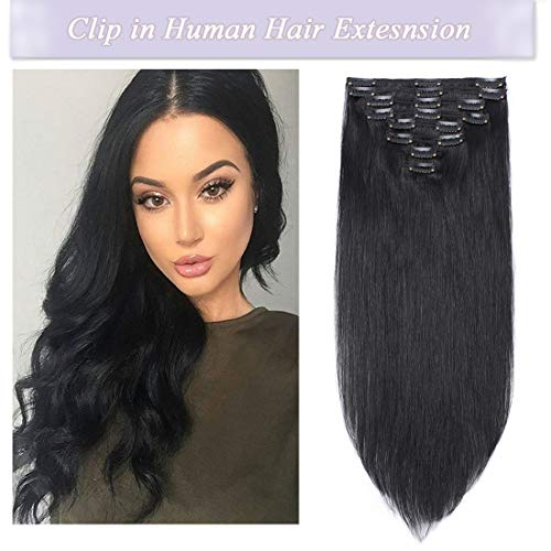 s-noilite Clip in Human Hair Extensions 100% Real Remy Thick True Double Weft Full Head 8 Pieces 18 clips Straight silky (22 inch - 160g,Jet Black (#1)) ()