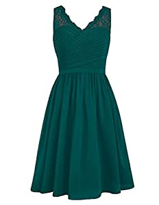 Cdress Chiffon Short Bridesmaid Dresses Lace Cocktail Gowns V-Neck Homecoming Dress