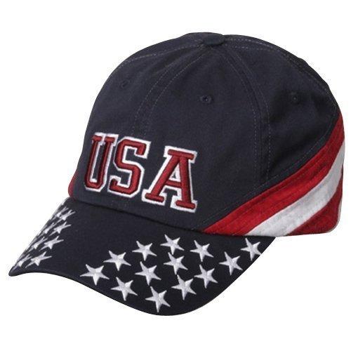 Patriotic Cap - Navy USA Star OSFM (Caps Stripes Stars)