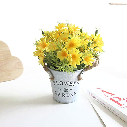 Charmly Artificial Flowers Potted European Style Design Silk Daisy Arrangements House Office Restaurant Table Centerpieces Windowsill Decor Daisy-Spring Yellow